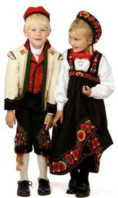 Childrens Costumes (bunad) from Upper Hallingdal Norway