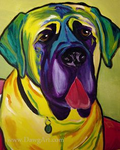 Colorful Pet Portrait Mastiff Dog Art Print 8x10 by Alicia VanNoy Call