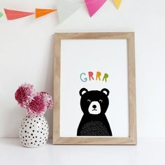 Bear Grrr Print, cute nursery animal print. Great for toddlers bedrooms or as a new baby gift