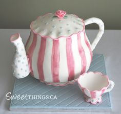 Teapot Cake Pattern   cake was designed to match the bridal shower invitations the cake was ...