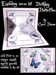 Exploding verse kit Birthday Butterflies blue  on Craftsuprint - View Now!
