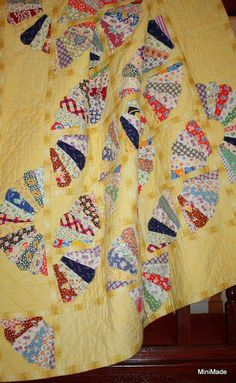 QUILT Upcycled Vintage Quilt Yellow Pieced Fan Dresdan by MiniMade.etsy.com