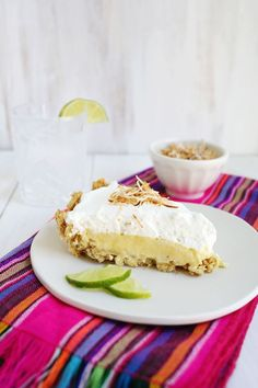 (Easiest Ever) Coconut Lime Pie via A Beautiful Mess.  Wendy Schultz - Sweet Pastries. Pies, Tarts-& Slices.