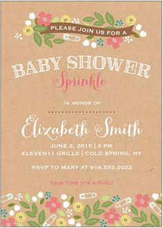 Celebrate the new arrival with a baby shower shop for baby shower create a one of a kind sprinkle shower invitation for your second baby and view your proof instantly fresh designs for spring and summer baby celebrations filmwisefo