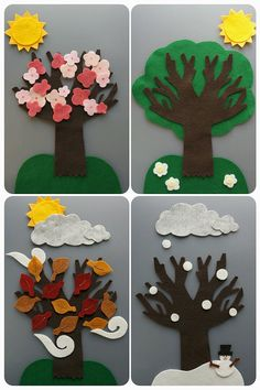 Great for teaching seasons/weather changing :) Felt set includes : (58 pieces) ~ 1 bare tree (10 inches) ~ 1 sun ~ 3 clouds ~ 3 gust of wind ~ 1 grass ~ 1 snowy ground ~ 1 snowman ~ 7 snow ~ 13 leaves ~ 18 cherry blossoms glued together ~ 1 green tree piece ~ 1 kite ~ 1 rainbow ~ 1