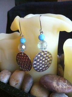 Silver Hammered Coins & Blue Cat's Eye Glass Beaded Handmade Earrings