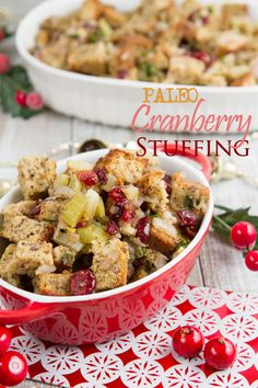 Paleo Cranberry Flax Stuffing with a Grain-Free Bread Recipe - Vegan (option), Gluten-free, Dairy-free, Refined sugar-free, Yeast-free, Corn-free, Nut-free (option), Grain-free
