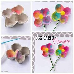 I had a few egg cartons left over from all of our egg dyeing festivities from Easter, so we decided to make some fun Spring themed crafts with them. I'm going to show you how to make these… Mothers Day Crafts For Kids, Spring Crafts For Kids, Art For Kids, Kid Art, Kids Fun, Toddler Crafts, Kids Crafts, Craft Projects, Arts And Crafts