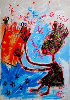 """""""El vestido que se salvó del naufragio"""" de Victoria Barranco @ VirtualGallery.com - Pintura acrílica en cartón de 50x70 cm (19.7x27.6 in). Arte marginal. Retrato de una inmigrante ilegal. (2014)"""