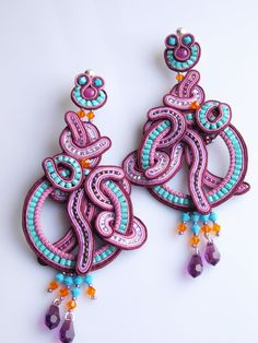 Soutache earrings turquoise colour purple violet : $83 on Etsy