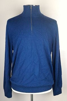 100% Authentic HERMES Knit Zip-Neck Cashmere Sweater Size XL 54-56 Blue $1375…
