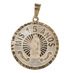 Yellow Gold XV Anos Medal with CZ - 14 K - QPX030