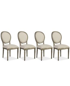 The grainy weathered surfaces, rich textural linen upholstery and fluted legs of this gorgeous set of four side chairs lend them a sophisticated, classic look subtly updated to bring modern style to your dining space. Furniture, Mattress Furniture, Living Room Chairs, Dining, Home Furniture, Furniture Chair, Dining Chair Set, Dining Chairs, French Country Dining Chairs