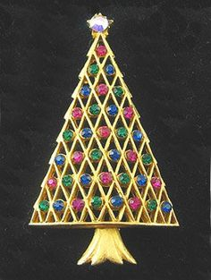 Vintage Christmas Tree Pins | Retro Christmas Tree Pin with Pink, Blue and Green Stones