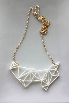 Geometric Necklace - Modern Minimalist Triangle and Prism Necklace in White. $26.99, via Etsy.