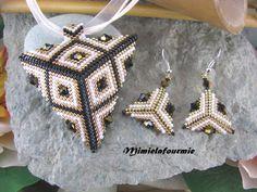 Parure collar + pendientes Perle Miyuki - negro triángulos / oro plateado / blanco - Swarovski - tejido Peyote