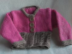 Hand Knitted Pink & Brown Baby Jacket Cardigan by ArdSolas on Etsy, £18.00