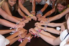 It all started with activity day. We needed a easy, cheap, FUN project on a hot Friday afternoon. Daisy Scouts, Girl Scouts, Bandana Bracelet, Pioneer Crafts, Bandana Crafts, Quick Crafts, Fun Crafts, Girl Scout Activities, Girl Scout Camping