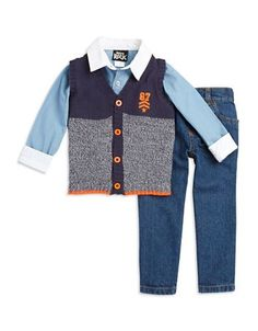 Boys Rock Baby Boys Knit Vest, Sportshirt and Jeans Set  Blue 18 Month