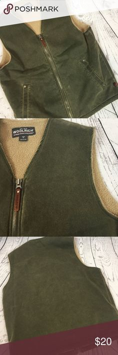 🆕 WOOLRICH Mens Fleece Lined Green Grunge Vest M Awesome retro vintage grunge vest by WOOLRICH. Mens size medium. Also fits as a Womens L/XL. Army green. Great warm layer!! Has a bit of the retro acid rinse look to it. Overall great condition  super warm!!! Smoke free home!! Measurements (flat): Armpit to armpit: 23 Armpit to bottom: 15 Shoulder to bottom: 26 Across bottom: 21.5 Woolrich Jackets  Coats Vests