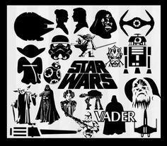 Star Wars SVG, Star wars Clipart, Yoda svg, Star wars silhouette, star wars vector. Darth Vader svg and clipart files