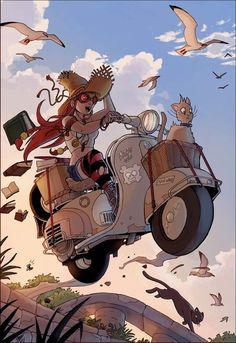 Little witch and her Vespa. by *VanOxymore on deviantART