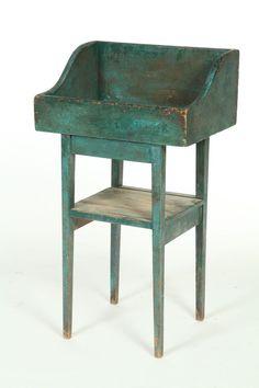 19th c. drysink or sorting table in original blue paint.  google.com
