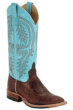 Anderson Bean Ladies Choco Brown Volcano w/ Turquoise Double Welt Square Toe Boots