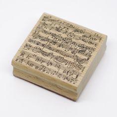 复古风rubber stamp橡皮章 橡皮印章 底纹章 手写乐谱印章 6×6cm