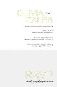 modern wedding invitation with perforated rsvp by westwillow, $20.00