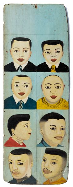 Authentic West African Hand-painted Barber Salon Shop Advertisement Sign Painting from 1970's