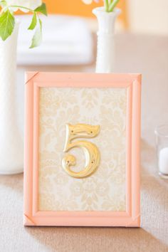 Peach Reception Table Numbers