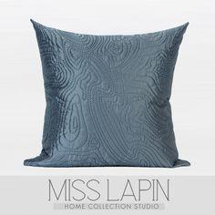 新中式/样板房家居软装沙发床头靠包抱枕/蓝灰色抽象图形绗棉方枕-淘宝网
