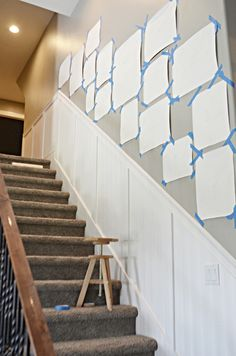 How to create a cohesive staircase gallery wall using different frames. A step by step guide to hang and map a gallery wall up your stairs. Stairway Photos, Stairway Gallery Wall, Staircase Pictures, Small Staircase, Stair Gallery, Gallery Wall Layout, Gallery Walls, Decorating Stairway Walls, Staircase Wall Decor