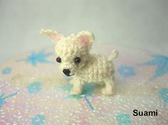 White Chihuahua Dog - Tiny Amigurumi Micro Crochet Miniature Pets - Made to Order Mais Bunny Crochet, Cute Crochet, Crochet Animals, Crochet Dolls, Knit Crochet, Amigurumi Patterns, Crochet Patterns, Mini Dogs, Cute Chihuahua
