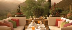 Afternoon drinks on the terrace - Kasbah Tamadot Home, Morocco