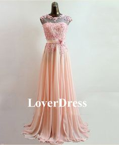 Coral Prom Dress Pearl Pink Prom Dress Lace Prom by LoverDress, $185.00