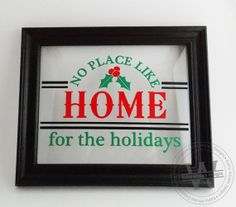 Vinyl Lettering No Place Like Home Vinyl Lettering, Christmas Holidays, Craft Projects, Handmade Gifts, Frame, Creative, Crafts, Etsy, Design
