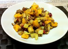 Sweet and Savory Roasted Butternut Squash Stuffing with Sausage and Cranberries | fastPaleo Primal and Paleo Diet Recipes