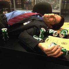 Hotch falling off the wagon. Six empty brews for day six of shooting.