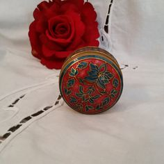 Vintage BRASS Cloisonne Red and Blue Trinket Box by AmazingFun