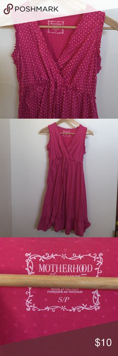 Maternity pink polka dot dress Flowy, light, comfortable, charming maternity dress. Size small. 60% polyester. 34% rayon. MOTHER Dresses Midi