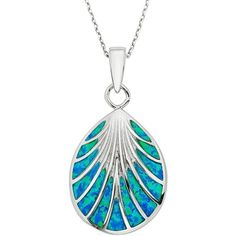 Lab-Created Blue Opal Sterling Silver Seashell Pendant Necklace ($79) ❤ liked on Polyvore featuring jewelry, necklaces, blue, shell necklace, seashell necklace, opal pendant, blue pendant and chain necklace