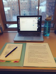 scoutstudies: 5:42 pm | winter study session Working on my creative writing workshop critiques for tomorrow morning and brainstorming for my personal narrative assignment with a perfect view of the snow