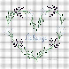 "Венок-сердце ""Лаванда"" - схема вышивки крестом Wreath Lavender - cross-stitching pattern"
