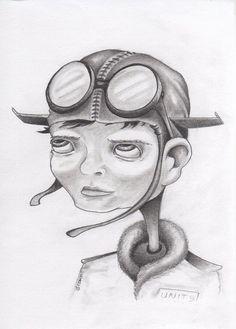 Untitled Unit 9 Pilot 5x7 original pencil drawing by bryancollins, $35.00