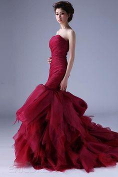 Excellent Mermaid Strapless Casscading Ruffles Chapel Train Color Wedding Dress. #hotred