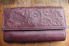 FOSSIL Maroon Dark Plum Leather Floral Desing Wallet #FOSSIL #Envelope