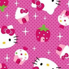 Picture of Hello Kitty Faces Cupcake Strawberry Houses Cotton Fabric
