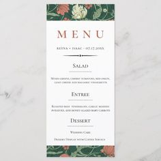 Shop Vintage English Floral Pattern Wedding Menu created by PoshPaperCo. Elegant Wedding, Floral Wedding, Diy Wedding, Wedding Ideas, Diy Birthday Design, Wedding Mint Green, Unique Restaurants, Wedding Menu Cards, Vintage Invitations